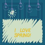 Conceptual hand writing showing I Love Spring. Business photo showcasing Affection for season of year where there are lot of. Flowers vector illustration