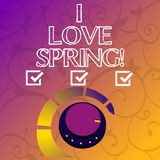 Conceptual hand writing showing I Love Spring. Business photo showcasing Affection for season of year where there are lot of. Flowers stock illustration