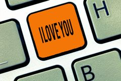Conceptual hand writing showing I Love You. Business photo text Expressing roanalysistic feelings for someone Positive. Emotion stock photo