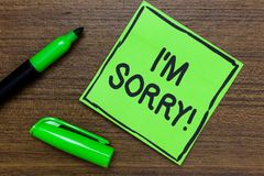 Conceptual hand writing showing I am Sorry. Business photo showcasing To ask for forgiveness to someone you unintensionaly hurt Gr. Een Paper Communicate ideas royalty free stock photos
