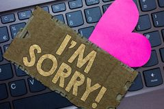 Conceptual hand writing showing I am Sorry. Business photo text To ask for forgiveness to someone you unintensionaly hurt Paperboa. Rd Romantic lovely message royalty free stock photos