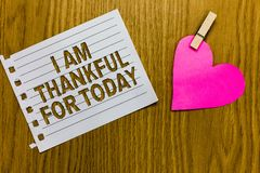 Conceptual hand writing showing I Am Thankful For Today. Business photo showcasing Grateful about living one more day Philosophy Y. Ellow woody deck word with royalty free stock images