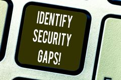 Conceptual hand writing showing Identify Security Gaps. Business photo text determine whether the controls in place are. Enough Keyboard key Intention to create royalty free stock photography