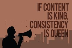 Conceptual hand writing showing If Content Is King, Consistency Is Queen. Business photo text Marketing strategies Persuasion Man. Holding megaphone politician vector illustration