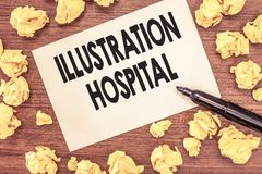 Conceptual hand writing showing Illustration Hospital. Business photo showcasing unique Applied Art of Medical royalty free stock images
