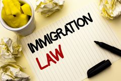 Conceptual hand writing showing Immigration Law. Business photo showcasing National Regulations for immigrants Deportation rules w. Ritten Notebook Paper the stock photos