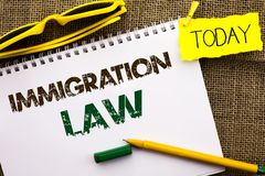Conceptual hand writing showing Immigration Law. Business photo showcasing National Regulations for immigrants Deportation rules w. Ritten Notebooke Book the stock image