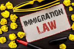 Conceptual hand writing showing Immigration Law. Business photo text National Regulations for immigrants Deportation rules written. Cardboard Piece the wooden stock photo