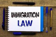 Conceptual hand writing showing Immigration Law. Business photo text National Regulations for immigrants Deportation rules written. Notebook Book the jute royalty free stock photography