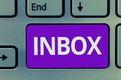 Conceptual hand writing showing Inbox. Business photo text electronic folder in which emails received by individual are. Held stock images