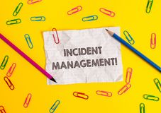 Conceptual hand writing showing Incident Management. Business photo showcasing Process to return Service to Normal. Conceptual hand writing showing Incident royalty free stock photos