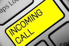 Conceptual hand writing showing Incoming Call. Business photo text Inbound Received Caller ID Telephone Voicemail Vidcall Keyboard. Yellow key computer stock photos