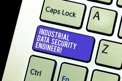 Conceptual hand writing showing Industrial Data Security Engineer. Business photo showcasing Technology network system. Engineering Keyboard Intention to create royalty free stock image