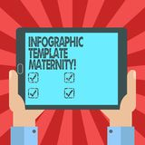 Conceptual hand writing showing Infographic Template Maternity. Business photo text Motherhood elements, material and guidelines. Hu analysis Hand Holding royalty free illustration