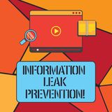 Conceptual hand writing showing Information Leak Prevention. Business photo showcasing Inhibiting critical information. To outflow Tablet Video Player Upload stock illustration