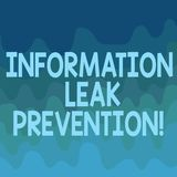 Conceptual hand writing showing Information Leak Prevention. Business photo text Inhibiting critical information to outflow Wave. Multi Tone Blank Copy Space stock illustration