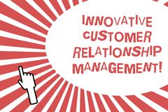 Conceptual hand writing showing Innovative Customer Relationship Management. Business photo showcasing Client positive feedback. Back of right Hand Index stock photo