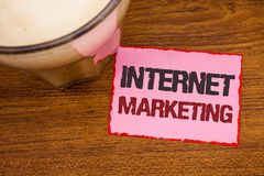 Conceptual hand writing showing Internet Marketing. Business photo text Online Commerce Networking Entrepreneur Entrepreneurship W. Ooden desktop red lined pink royalty free stock image