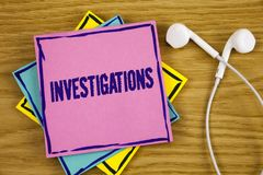 Conceptual hand writing showing Investigations. Business photo showcasing Formal inquiry Systematic Study Examination Research Ana. Lysis written Sticky Note Stock Image