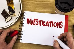 Conceptual hand writing showing Investigations. Business photo showcasing Formal inquiry Systematic Study Examination Research Ana. Lysis written by Man Notebook Stock Photos