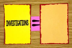 Conceptual hand writing showing Investigations. Business photo text Formal inquiry Systematic Study Examination Research Analysis. Written Sticky Note Paper Royalty Free Stock Image
