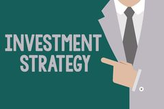 Conceptual hand writing showing Investment Strategy. Business photo text Set of Rules Procedures Behavior a Guide to an. Investor vector illustration