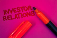 Conceptual hand writing showing Investor Relations. Business photo text Finance Investment Relationship Negotiate Shareholder Mage. Nta color platform dark red royalty free stock images