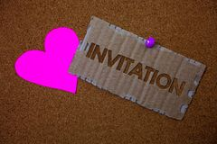 Conceptual hand writing showing Invitation. Business photo text Written or verbal request someone to go somewhere or do something. Brown old damaged paperboard stock photography