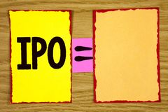 Conceptual hand writing showing Ipo. Business photo text Initial Public Offering First time stock of company is offered to public. Written Sticky Note Paper Royalty Free Stock Photos