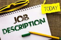 Conceptual hand writing showing Job Description. Business photo showcasing Document that establishes duties requirements exprerien. Ce written Notebooke Book the Stock Photo