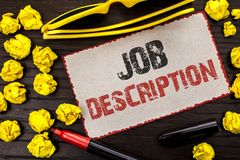 Conceptual hand writing showing Job Description. Business photo text Document that establishes duties requirements exprerience wri. Tten Cardboard Piece the Stock Photography