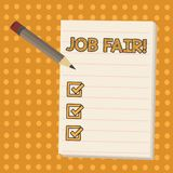 Conceptual hand writing showing Job Fair. Business photo showcasing event in which employers recruiters give information. Conceptual hand writing showing Job stock illustration