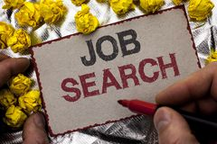 Conceptual hand writing showing Job Search. Business photo showcasing Find Career Vacancy Opportunity Employment Recruitment Recru. It written by Man Holding stock image