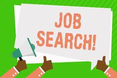 Conceptual hand writing showing Job Search. Business photo showcasing act of looking for employment due to unemployment. Conceptual hand writing showing Job stock illustration