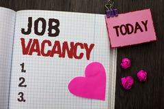 Conceptual hand writing showing Job Vacancy. Business photo showcasing Work Career Vacant Position Hiring Employment Recruit Job w. Ritten Notebook Book wooden stock photos