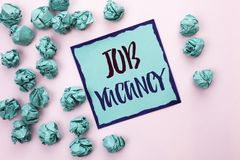 Conceptual hand writing showing Job Vacancy. Business photo text Work Career Vacant Position Hiring Employment Recruit Job written. Sticky Note Paper the light stock images