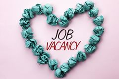 Conceptual hand writing showing Job Vacancy. Business photo text Work Career Vacant Position Hiring Employment Recruit Job written. Plain background within royalty free stock photo