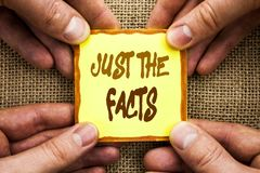 Conceptual hand writing showing Just The Facts. Business photo showcasing Truth Fact Accuracy Honest Concept For Factual Actual  w. Ritten Sticky Note Paper Stock Images