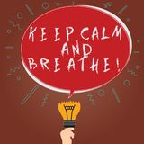 Conceptual hand writing showing Keep Calm And Breathe. Business photo showcasing Take a break to overcome everyday vector illustration
