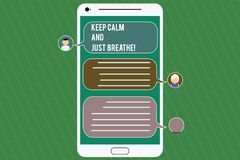 Conceptual hand writing showing Keep Calm And Just Breathe. Business photo showcasing Take a break to overcome everyday. Difficulties Mobile Messenger Screen stock illustration