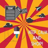 Conceptual hand writing showing Keep Calm And Shop. Business photo showcasing Relax leisure time relaxing by purchasing vector illustration
