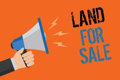 Conceptual hand writing showing Land For Sale. Business photo text Real Estate Lot Selling Developers Realtors. Investment Man holding loudspeaker orange vector illustration