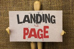 Conceptual hand writing showing Landing Page. Business photo text Website accessed by clicking a link on another web page written. Cardboard Piece the jute Royalty Free Stock Images