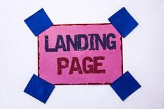 Conceptual hand writing showing Landing Page. Business photo text Website accessed by clicking a link on another web page written. Pink Sticky Note Paper the Royalty Free Stock Photos
