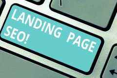 Conceptual hand writing showing Landing Page Seo. Business photo showcasing web that visitor arrive after they click. Link search engine Keyboard key Intention royalty free stock image