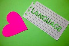 Conceptual hand writing showing Language. Business photo showcasing Method of human communication Spoken Written Use Words Express royalty free stock image