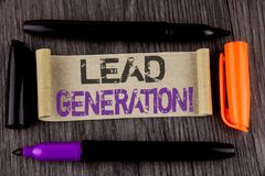 Conceptual hand writing showing Lead Generation Motivational Call. Business photo text Sales pipeline digital generating leads wri. Tten Cardboard Paper the Royalty Free Stock Image