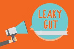 Conceptual hand writing showing Leaky Gut. Business photo showcasing A condition in which the lining of small intestine is damaged