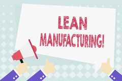 Conceptual hand writing showing Lean Manufacturing. Business photo showcasing focus on minimizing waste within. Conceptual hand writing showing Lean royalty free illustration