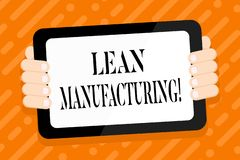 Conceptual hand writing showing Lean Manufacturing. Business photo text focus on minimizing waste within stock illustration